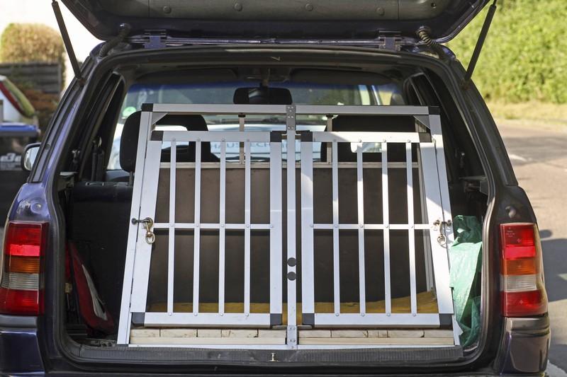 Reist der Hund im Kofferraum mit, sind spezielle Transportboxen die sicherste Möglichkeit, den Hund zu transportieren.