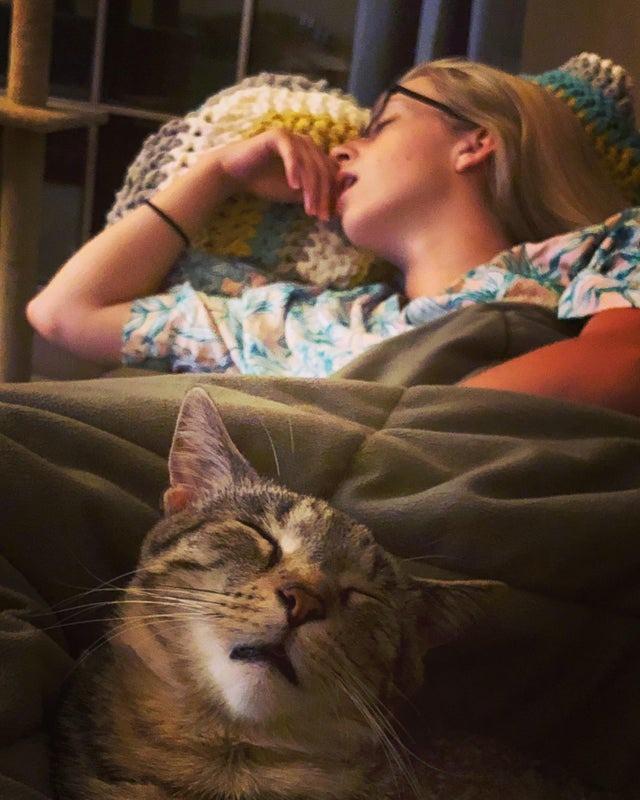Die Katze und ihr Frauchen schlafen sehr ähnlich!